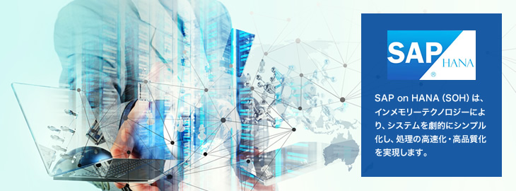 SAP on HANA(SOH)は、インメモリーテクノロジーにより、システムを劇的にシンプル化し、処理の高速化・高品質化を実現します。